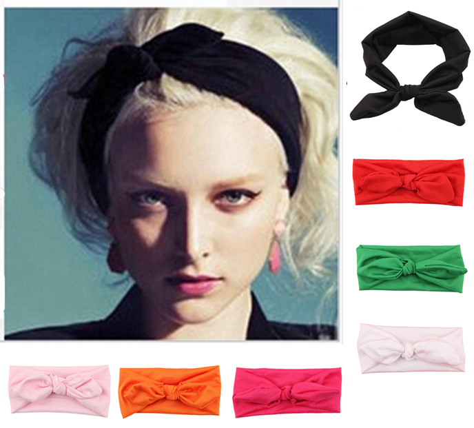 1 Piece Fashion Bunny Ear Elastic Cotton Headband For Women Girl Bandana Turban Bandage Headwrap Knot Hairband Hair Accessories(China (Mainland))