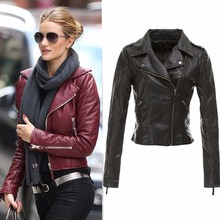 Women 2015 Zipper jacket  Faux Leather PU Plus Size 4XL winter Coat Ladies Slim Crop Motorcycle tops(China (Mainland))
