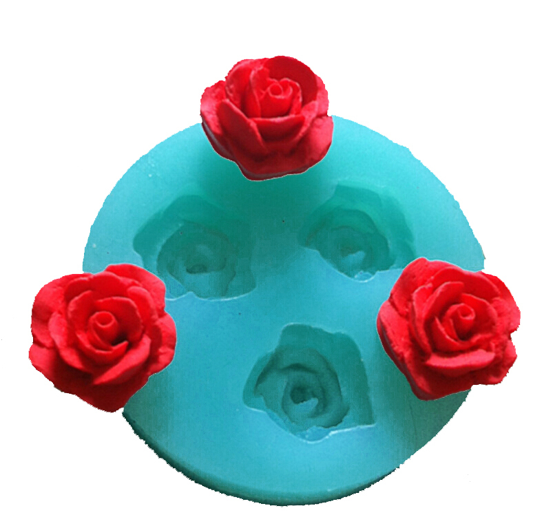 Free Shipping 3 pcs rose cooking tools cake mold Chocolate Candy Jello Baking silicone fondant decorative molds wed sugar craft(China (Mainland))
