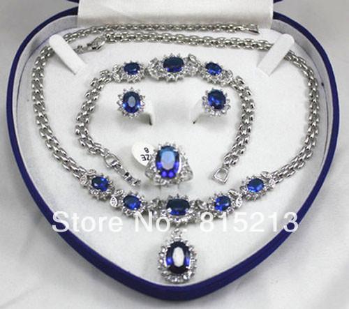 Ddh080 женщин ювелирные изделия аквамарин белое золото Серьги Браслет Ожерелье Кольцо