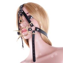 Buy Adult sex slave port ball harness type metal spider nose hook fork customers plug bdsm  mouth gag harness sex toys bondages