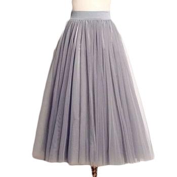 Summer Women Tutu Skirts Tulle Maxi Midi High Quality Vintage Pleated Long White American Apparel Skater MF489562