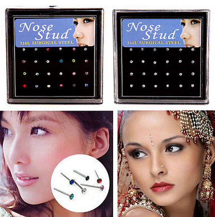 24Pcs/pack Nose Ring Body Jewelry Nose Stud ring Stainless Surgical Steel Nose Piercing Crystal Stud ring for women girl gift(China (Mainland))
