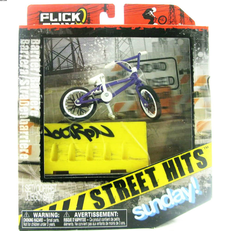 NEW Flick Trix Bmx Finger Bike Street Hits Sunday Alloy model bicycle with barrier Mini toy for boy(China (Mainland))