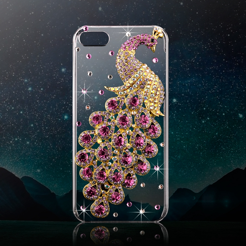 Deluxe 3D Peacock Crystal Diamond Case For iPhone 5 5S SE Bling Rhinestone Transparent Clear PC Back Cover For Apple 5S(China (Mainland))