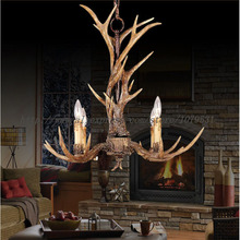 Europe Country 4 Heads Brown Dining Room Antler Chandeliers Lights Pendant Lamps Ceiling Fixtures Lighting, E14 110-240V(China (Mainland))