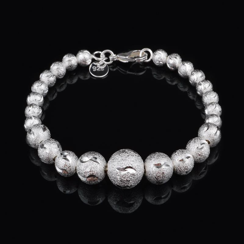2015 New Jewelry 925 Sterling Silver Women Bracelet Bangle Silver Plated Bead bracelet women pulseiras femininas Fashion Jewelry(China (Mainland))