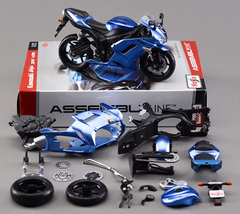 1:12 Scale DIY Assembly Model Motorcycle Kawasaki ZX-6R Metal Kit Diecast Motorbike Maisto Brinquedos Collection Kids Toys - & Dolls Club store