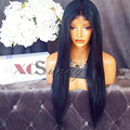 High Density 200 Density Full Lace Wig Natural Virgin Color Unprocessed Brazilian Human Hair Silk Straight