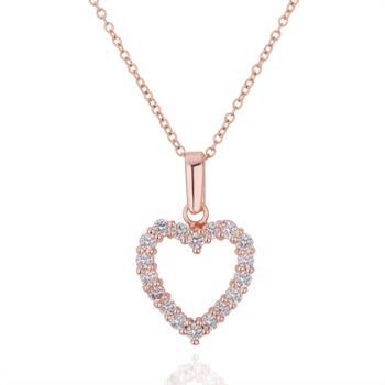 Fashion 18KGP N221 Heart 18K Gold Plated Pendant Necklace Health Jewelry Nickel Free Rhinestone Austrian Crystal SWA Element