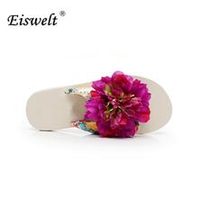 Buy EISWELT Bohemia Flowers Woman Beach Flip Flops Summer Sandals Slip- Resistant Slippers Platform Sandal#LQ2 for $16.65 in AliExpress store