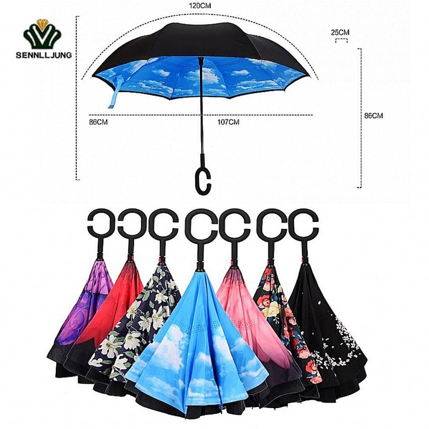 2017 Promotion Paraguas Reversefolding Umbrella C-type Car Reverse Umbrella-free Double-layer Advertising Outdoor Sun Reversal