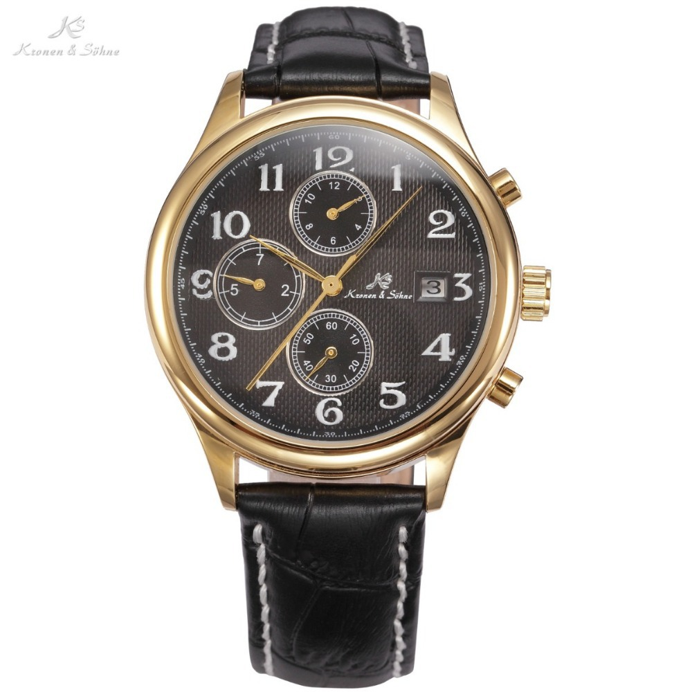 KS IMPERIAL Series Date Month Day Display Men Dress Golden Case Luxury Black Leather Strap Automatic Mechanical Watch / KS157(China (Mainland))