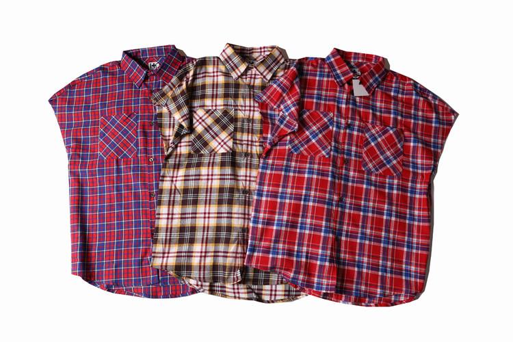 top fear of god casual streetwear raw cut Scottish grid plaid side zipper sleeveless flannel shirt