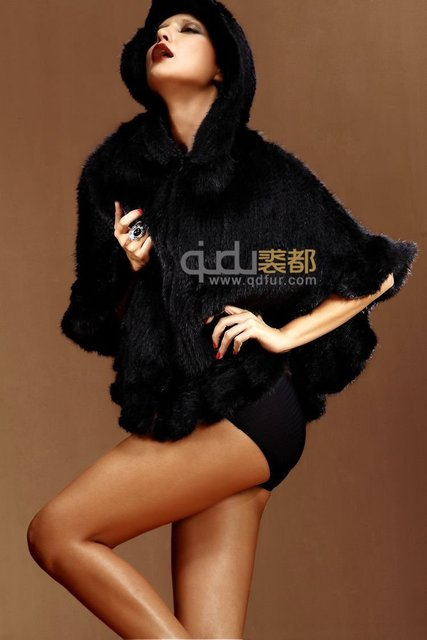 2014 Women Genuine Knitted Mink Fur Poncho with hooded especially Female Fashion Style Poncho  Free Shipping QD5768