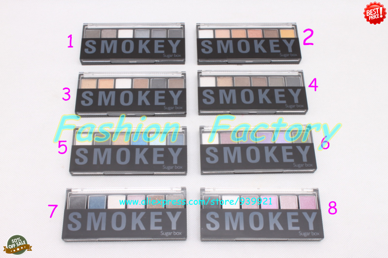 Sugar Box Smokey Eye Shadow 6 Color Eyeshadow Palette 8 different colors can choose,1 pc/lot - Fashion Factory's store