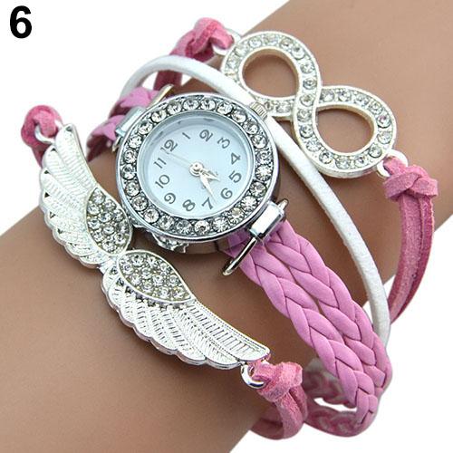 Popular Womens Infinity Charm Rhinestone Faux Leather Angels Wings Bangle Bracelet Wrist Watch 5UWI<br><br>Aliexpress