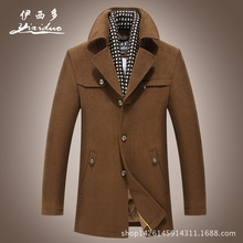 men's turn-down button collar business coat winter warm thick new fashion high quality fit trench coat famous brand clothing(China (Mainland))