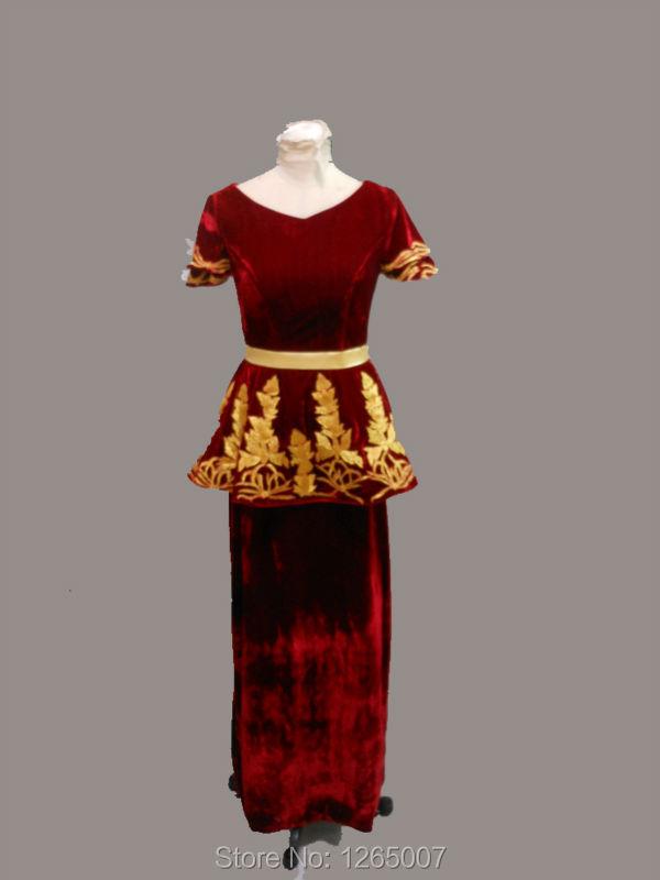 Elegant Arabic Red Velvet Evening Dresses New Dubai V Neck Short Sleeves Ruffles Gold Embroidery Long Maxi Formal Evening Gown(China (Mainland))
