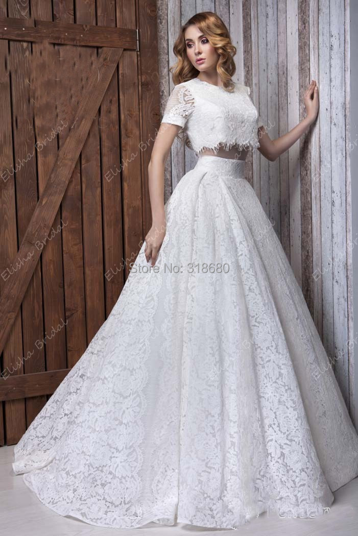 Latest design high neck half quarter sleeve two in one for Crop top wedding dress