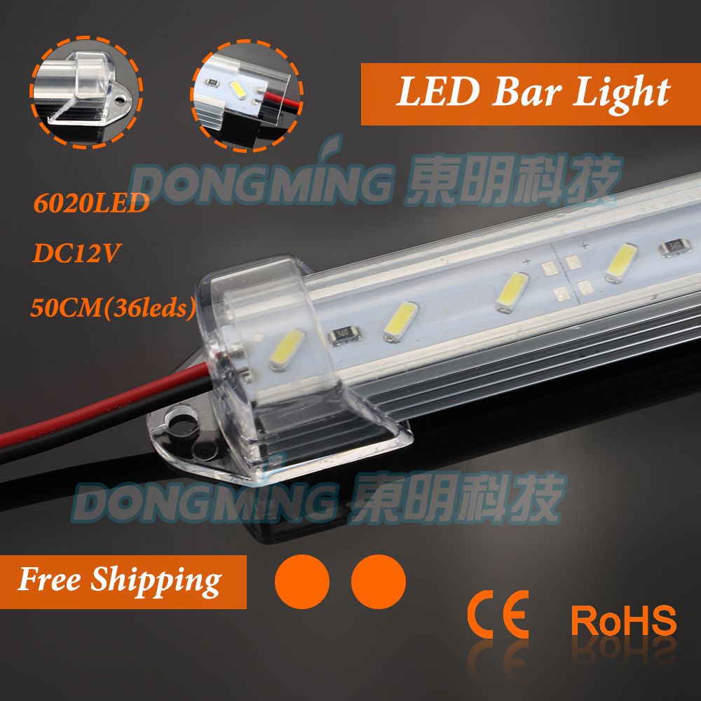 U Aluminium Profile 7020 LED bar light 50cm 36leds 12V with milky/clear pc covcer Home/Kitchen led under cabinet light(China (Mainland))