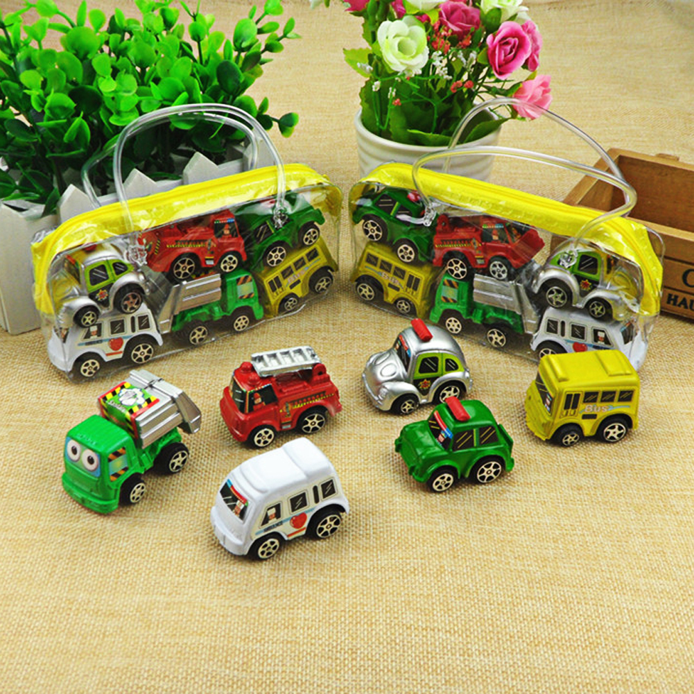 6pcs/lot Pull Back Car Toys Car Children Racing Car Baby Mini Cars Cartoon Pull Back Bus Truck Kids Toys For Children Boy Gifts(China (Mainland))