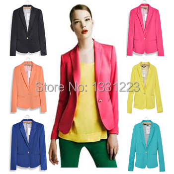 2014 european candy color one button women jacket women coat women suit foldable jackets women clothes suit Feminino Work Wear(China (Mainland))