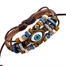 Unisex Blue Eyes Good Wood Beads Knitting Maple Leaves Trendy Nature Style Charm Vintage Pu Leather(China (Mainland))