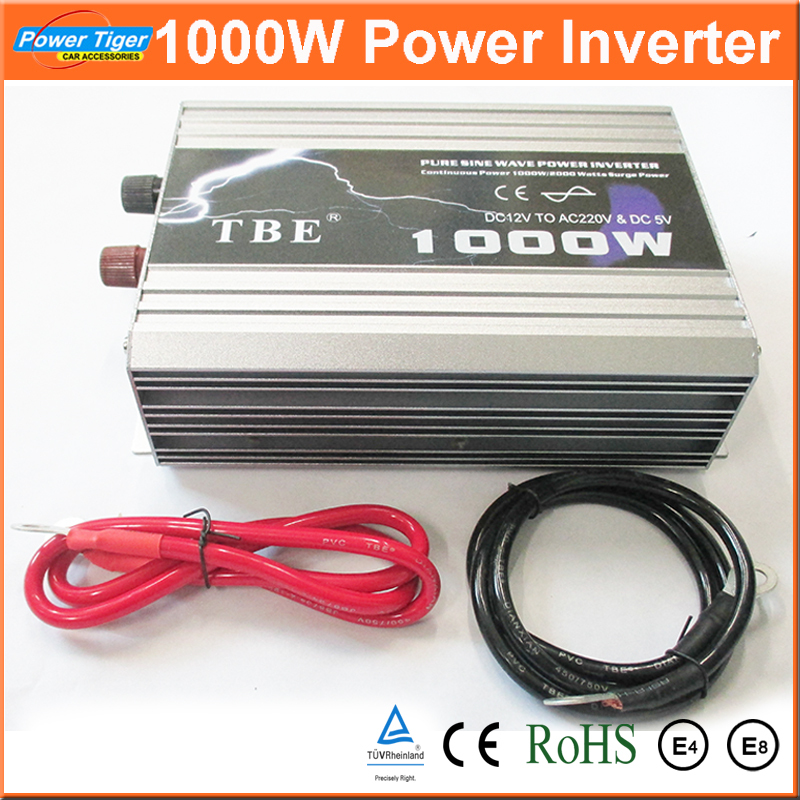 Auto Car Power Inverter Converter 1000W 1KW Pure Sine Wave Inverter DC TO AC 12V 220V With USB for Notebook Laptop Adapter(China (Mainland))