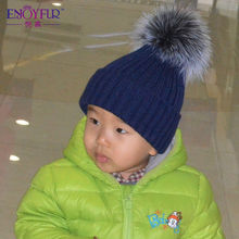 Winter Baby's knitted hat with fox fur poms poms Unisex beanies for kids flexible casual snow caps 2015 Apparel Accessories(China (Mainland))