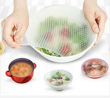 4 different size pcs/ lot - useful Seal Vacuum Food Wrap Multi-functional Reuse Food Fresh Keeping Plastic Wrap Kitchen tools(China (Mainland))
