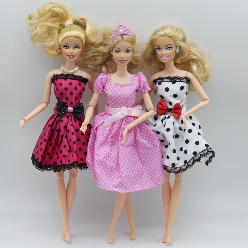 3pcs/lot Doll Gown Stunning Handmade Social gathering ClothesTop Vogue Gown For Barbie Noble Doll Greatest Baby Ladies'Present