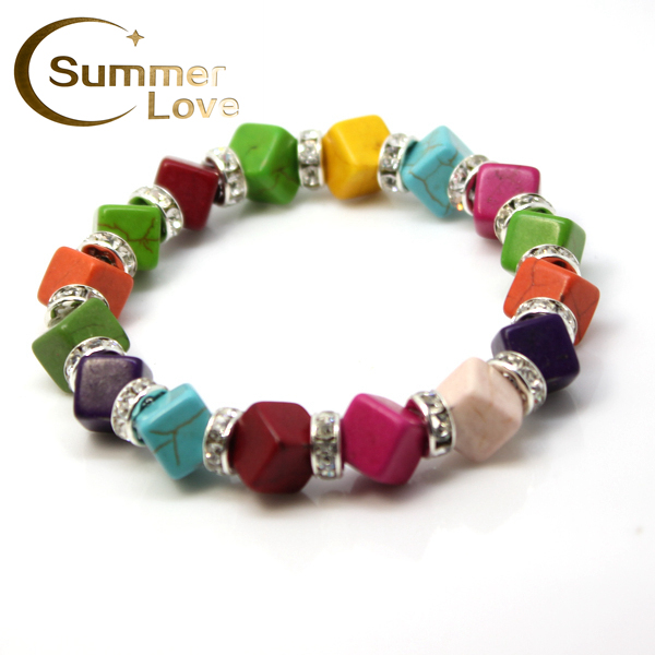 New Arrival Square Turquoise Beads Metal Crystal Beads Bracelet Fashion Jewelry Vintage silver plated Charm Bracelets for woman