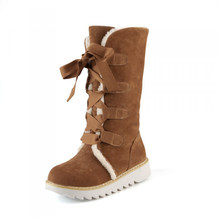 Plardin artı boyutu 34-43 Yeni Moda Kadın Botları Kış Martin Sıcak Pamuklu Kumaş Çizme Çapraz bağlı Diz yüksek Çizmeler Ayakkabı Kadın(China)