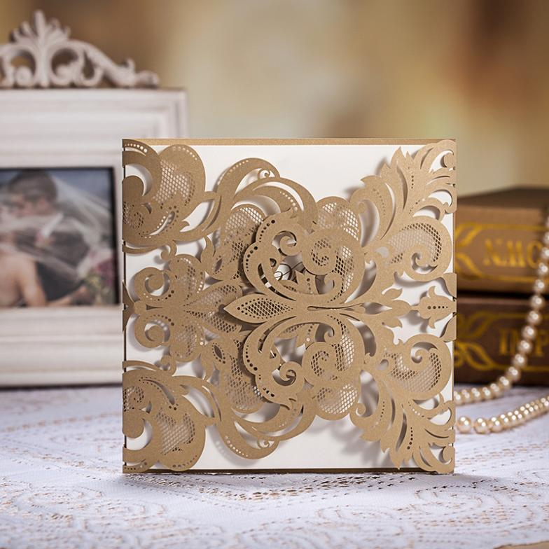 100pcs Laser Cut Wedding Invitation Cards Laser Cut Wedding Invitations Gold For Wedding Party Event Supplies Vintage(China (Mainland))