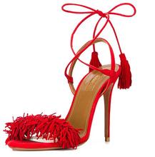 Strappy Heels Rome 2016 Summer Women Catwalk Ankle Strap High Heel Sandals Shoes Sexy Ladies Tassel Sandals Pumps Stiletto