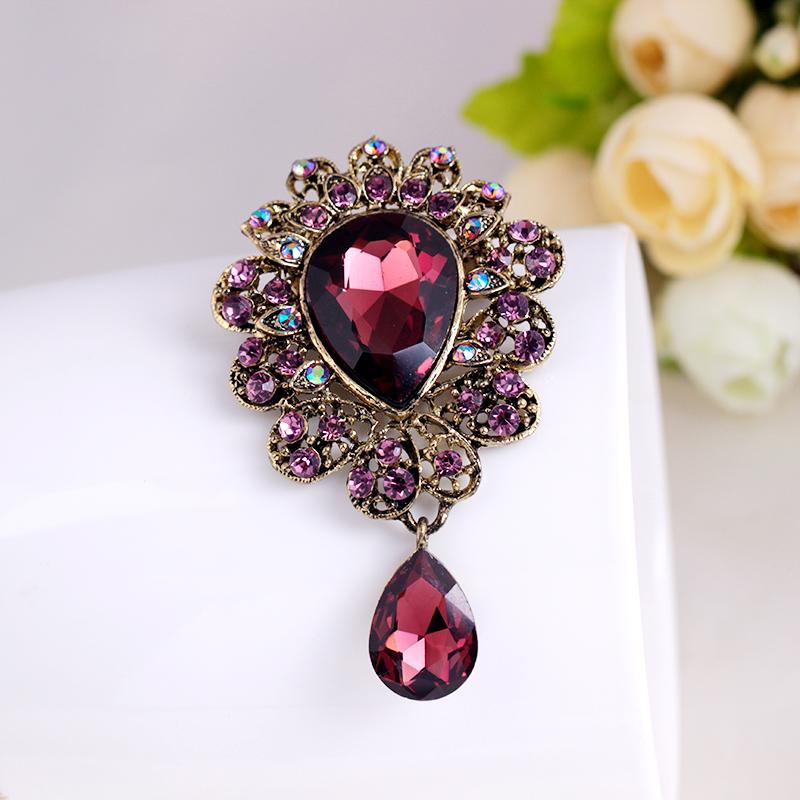 2016 Elegant Six Color Rhinestone Brooch flower Vintage