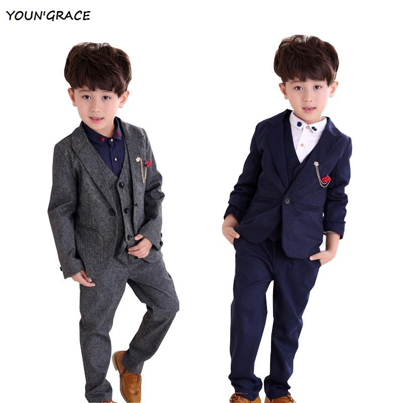 2015 New Design 3PCs Flower Boys Formal Weddings Suits Brand England Style Kids Winter Vest Suits Boys Tuxedos Blazers, YC049(China (Mainland))