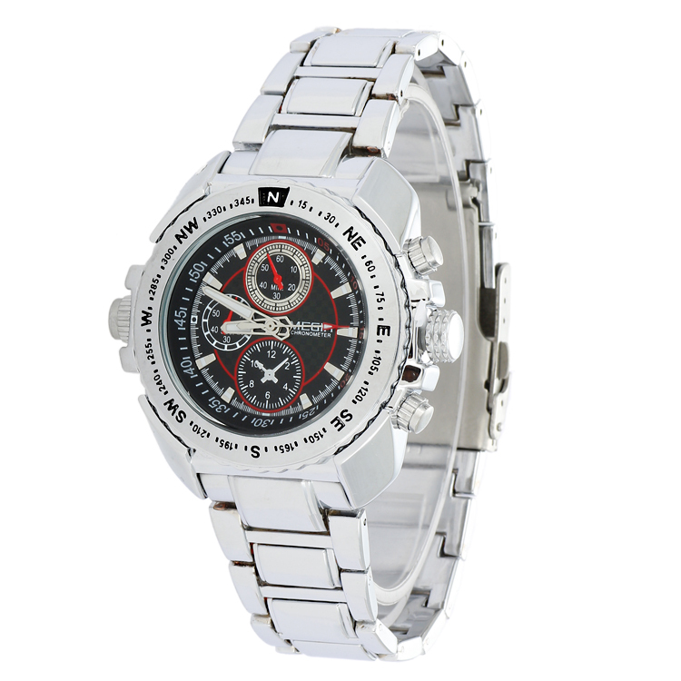 Red Circle Brand MEGIR Quartz Watches Men Stainless Steel Band Wristwatch 2035 Movement + Small Dial No Function MG1005(China (Mainland))