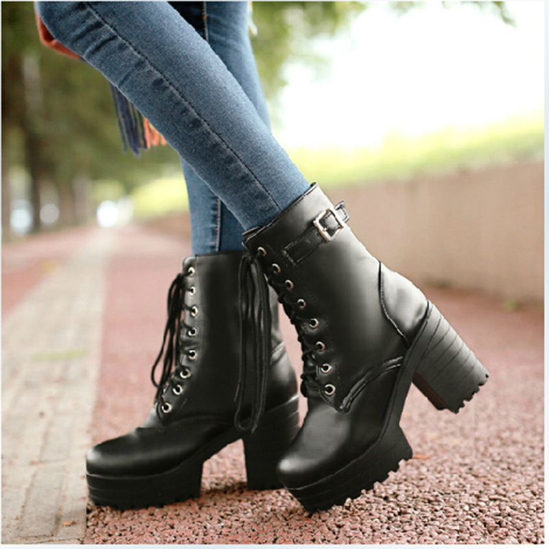 New 2015 Women's Ankle Martin Boots Winter Motorcycle Platform High Heeled Boots Pu Leather Booty Botas Femininas(China (Mainland))