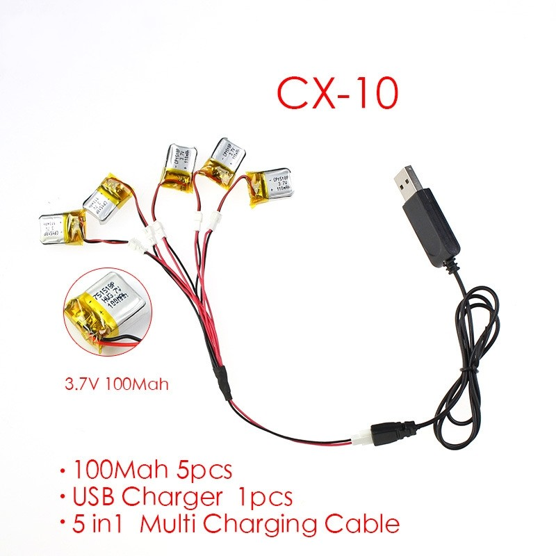 5 pcs 3.7V 100mAh Battery and USB Cable for Cheerson CX-10 CX-10A WL V272 V282 V292 Hubsan Q4 H111/FQ777 -124 Mini RC Quadcopter