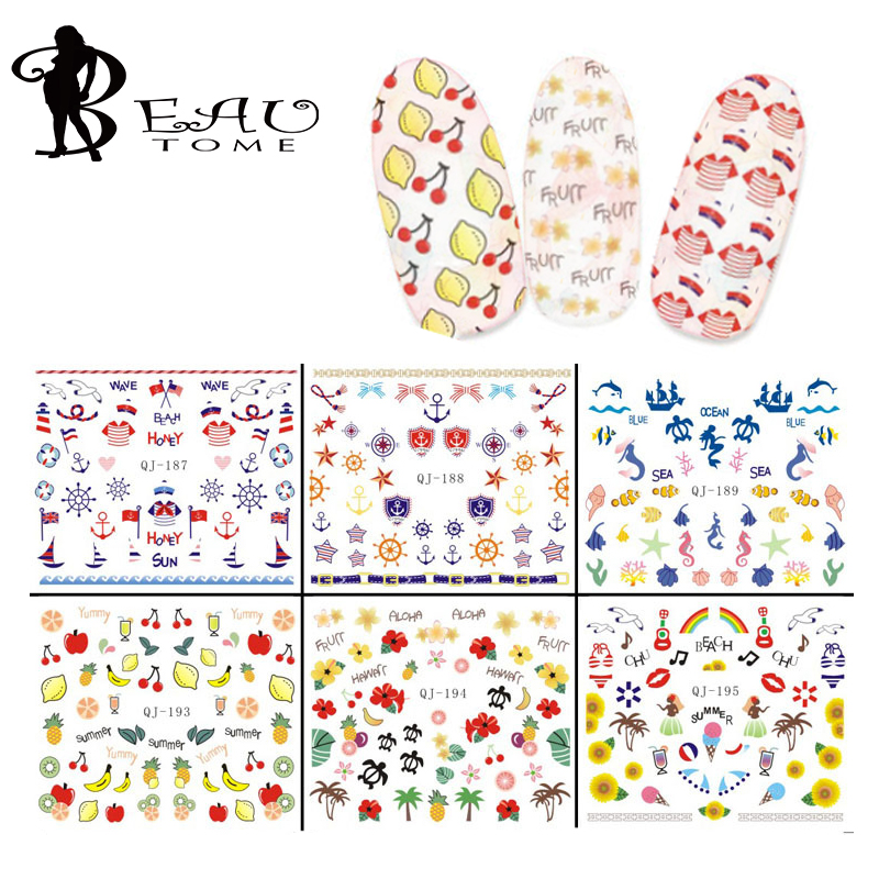 Beautome 6Sheets 2016 New Water Transfer Nails Art Sticker Fruit Dress Design Nail Wrap Sticker Tips Manicura Nail Foil Transfer(China (Mainland))