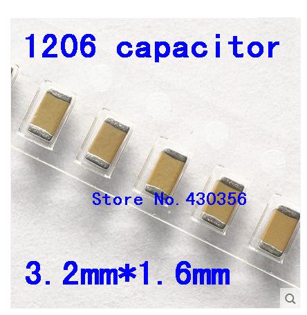 Free shipping 1206 SMD capacitor 100nf 50V 104Z 100PCS
