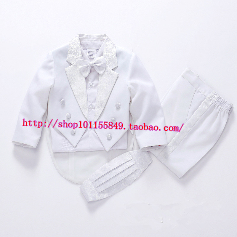 2015 New Five pieces clothing set Pure White Children tuxedo kids formal suit Baby Boys Blazers suits Age 2A-8A(China (Mainland))