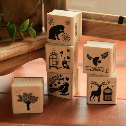 6 pcs/lot DIY Cute Cartoon Birds Cats Tree Wooden Stamps Set for Diary Scrapbooking Decoration Gift Free shipping 1071(China (Mainland))
