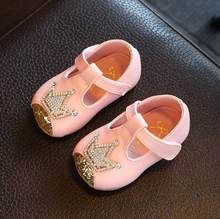 2019 סתיו ילדים קטן עור נעלי ריינסטון כתר תינוק נסיכת נעלי 0-1-2 שנים בנות אחת נעלי ילדים סניקרס(China)