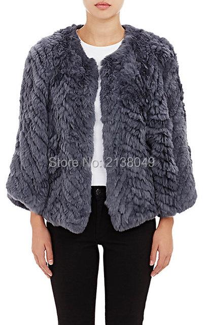 FC00802 Высокое качество женщин зима горячей продажи стиль три четверти рукава настоящее кролика трикотажные пальто