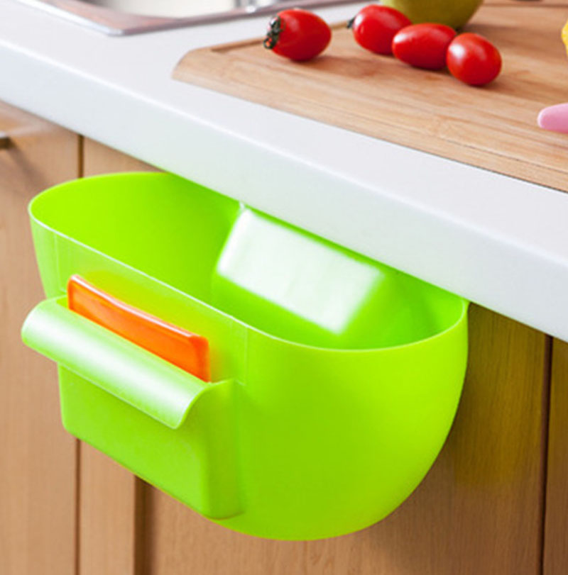Cute Kitchen Cabinet Trash Storage Box Organizers Plastic Garbage Holder Portable Square Boxes Bins 4 Colors New(China (Mainland))