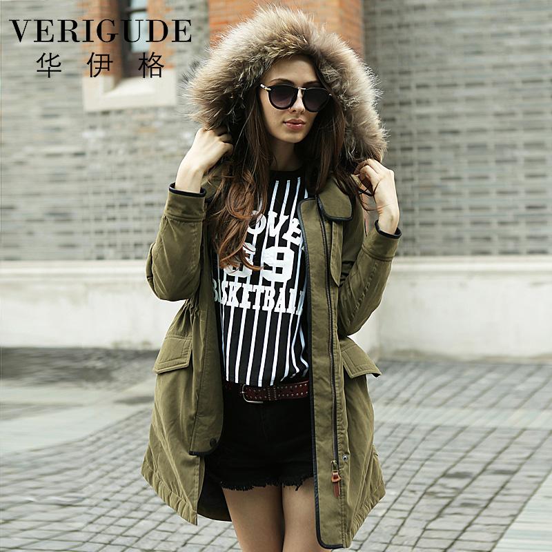 Veri Gude Winter 2014 New Women's Raccoon Fur Hooded European Fashion Thick Parkas