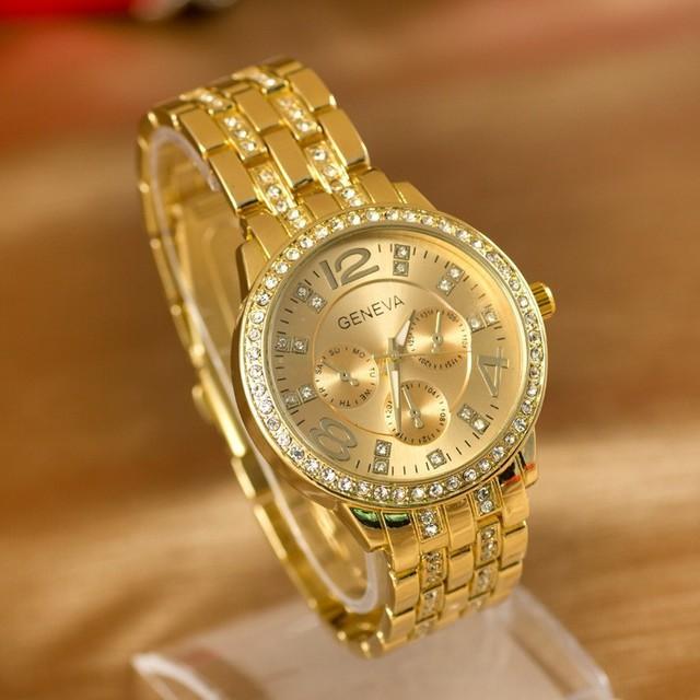 Женская горный хрусталь блестящие платье наручные часы полный стали женева бренд кварцевые женские аналоговый платье часы кристалл время сериал